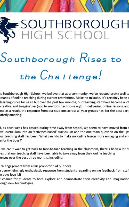 SHS RISES TO THE CHALLENGE